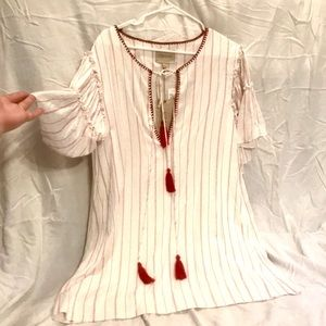 Red and white tunic dress